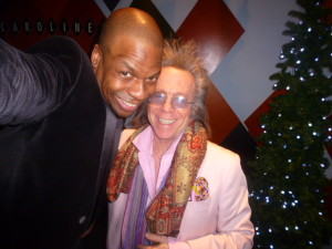 Ardie Fuqua and Jeffrey Gurian in an Ardie-taken selfie at Carolines!  His arms are REALLY long so they come out good!