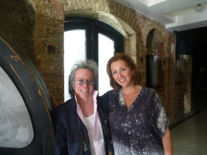 "Aviva Miller, Head of Events for  GCIFF, and Jeffrey Gurian in the lobby of the new ""Space at Westbury."""