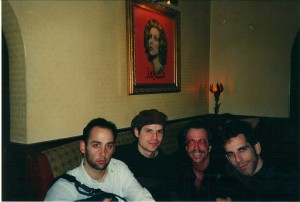(L-R) David Wain, Michael Ian Black, Jeffrey Gurian, and Ben Stiller at Fez, circa 1997.