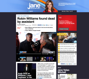 Jeffrey appeared on HLN with Jane Velez-Mitchell to discuss the untimely passing of the great Robin Williams.