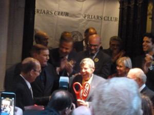 Jerry Lewis brandishing the big red scissors he used to cut the red ribbon naming the Friars monastery after him!