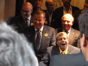 Jerry Lewis laughing at one of the many jokes that were told during the ribbon cutting ceremony naming the Friars Club after himself!