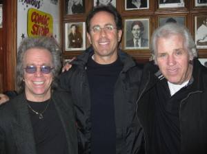"Jeffrey Gurian, Jerry Seinfeld and Richie Tienken at The Comic Strip after Jerry's interview for the book ""Make 'Em Laugh."""