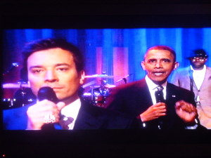 "Pres. Barack Obama ""slow-jamming the news"" with Jimmy Fallon, and The Roots!"