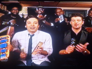 Jimmy Fallon having fun with Robin Thicke!