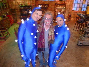 (L-R) Michael Ian Black, Jeffrey Gurian, and Seth Herzog in a very strange stance that goes perfectly with his outfit!