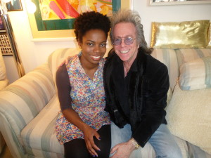 "Jeffrey Gurian with new SNL cast member Sasheer Zamata in his apartment, during the shoot for the documentary film he co-produced and appeared in called ""The Business of Comedy""!"