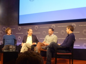 (L-R) Jon Krisel, John Levenstein, Nick Kroll, and Seth Meyers at The Paley Center in a panel on Kroll Show!