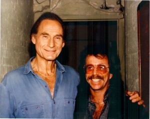 Jeffrey Gurian visiting Sid Caesar backstage in what looks like a construction site!