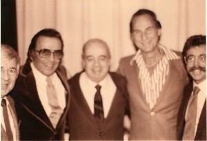 (L-R) Bobby Shields, Norm Crosby, Gene Baylos, Sid Caesar, and Jeffrey Gurian at the Friars Roast for Sid Caesar, 1983.