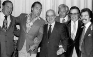 A different grouping at the Sid Caesar Roast, (L-R) Henny Youngman, Sid Caesar, Gene Baylos, Jan Murray, Norm Crosby, and Jeffrey Gurian!